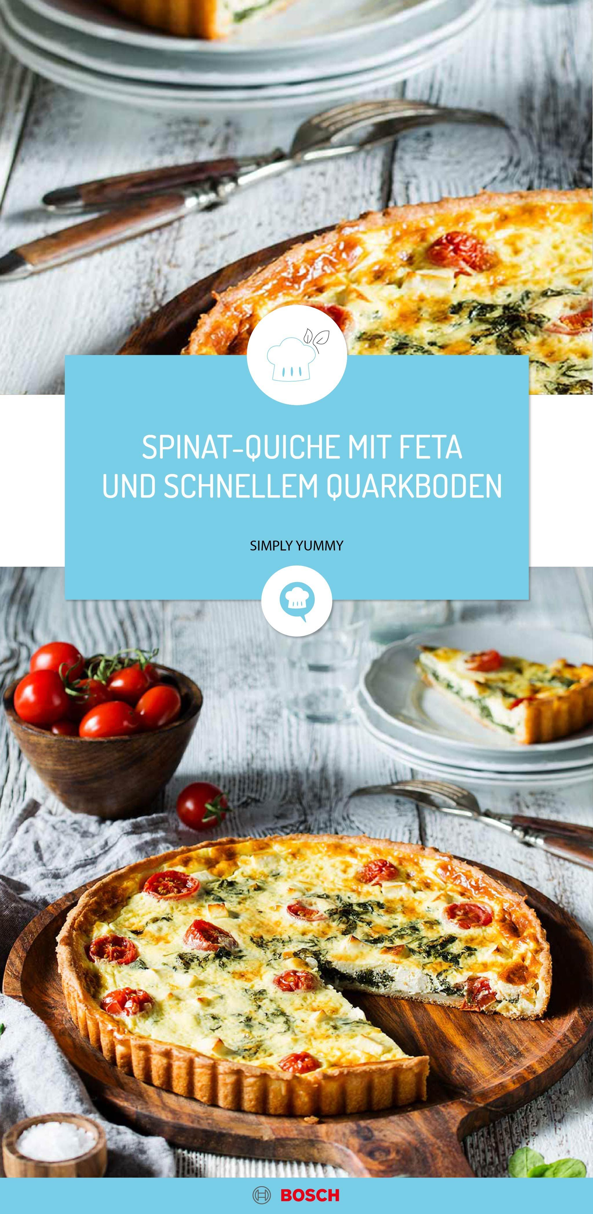 Spinat-Quiche mit Feta und schnellem Quarkboden