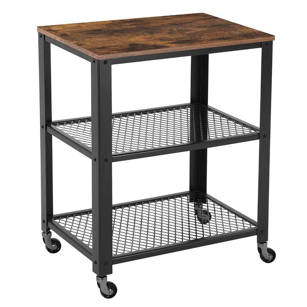 Benjara Black And Brown 3 Tier Wooden Serving Cart With 2 Mesh Design Shelves Bm197496 The Home Depot In 2020 Rolling Kitchen Cart Kitchen Cart Serving Cart
