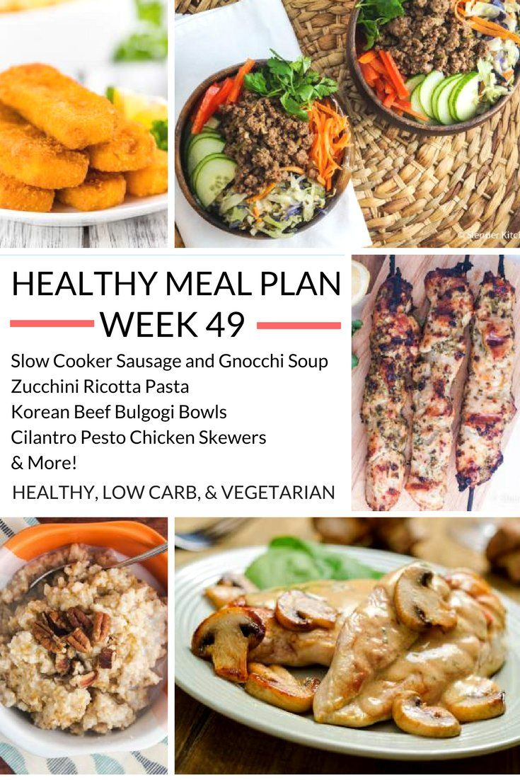 Healthy Meal Plans Week 49   Slender kitchen, Meals and Weekly meal ...