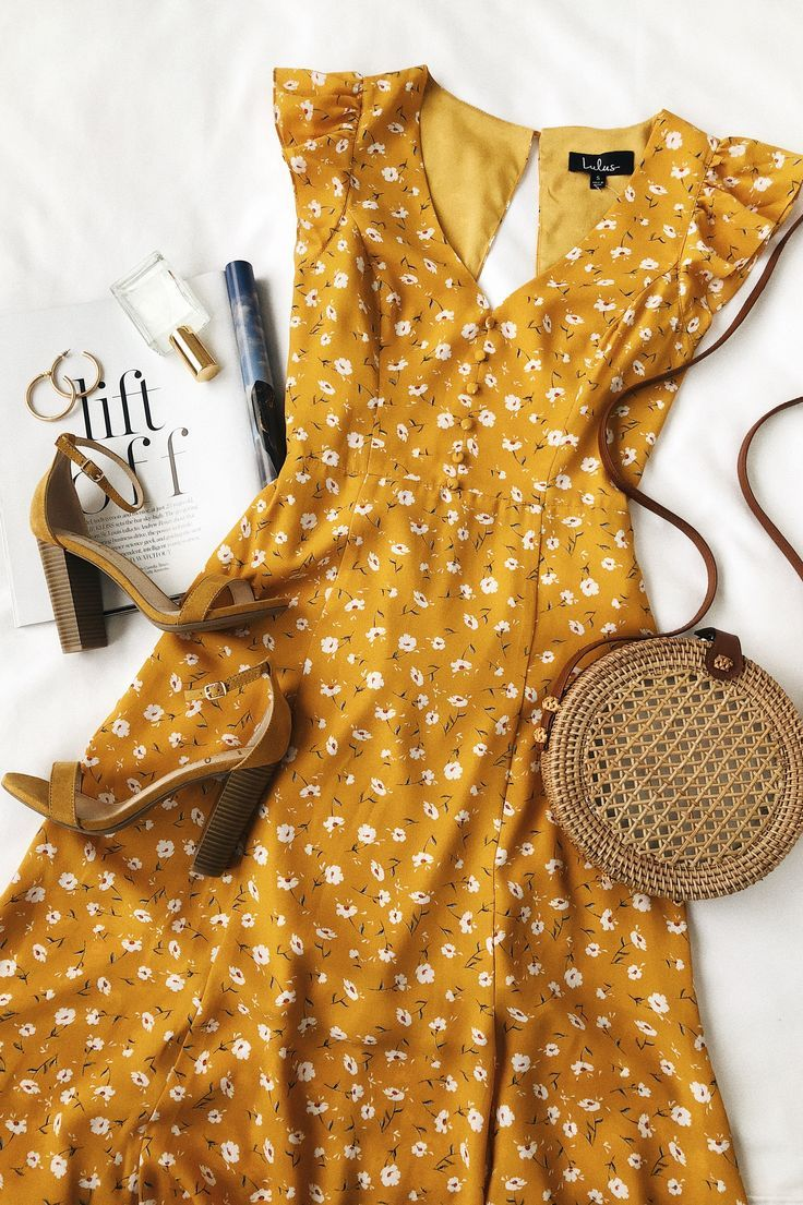 Yellow dress knee length  Fresh Picked Mustard Yellow Floral Print Backless Maxi Dress  get