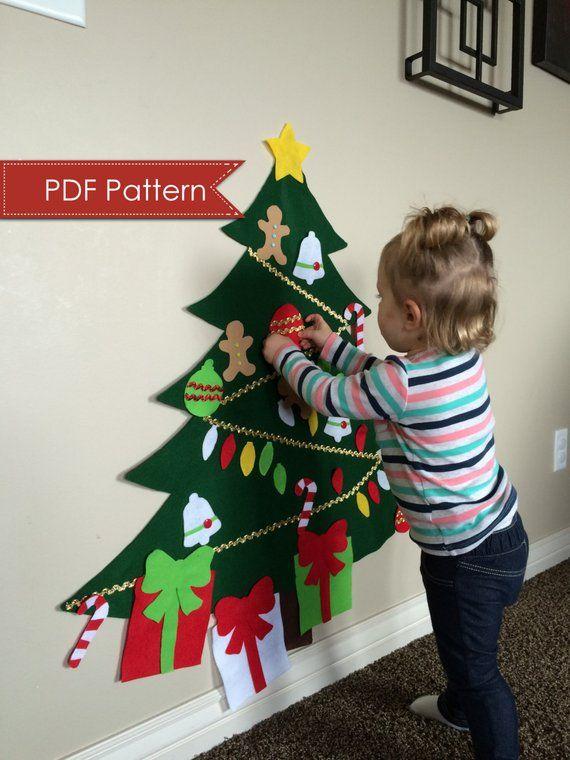 Felt Christmas Tree DIGITAL PATTERN - No Sew DIY Printable pdf - Large Tree 3 Feet Tall - Kids Decorate Toy Activity - Preschool Holiday Fun #christmastreeideas