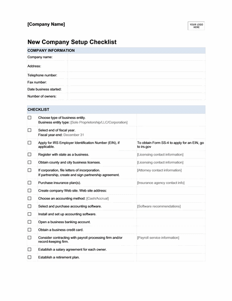 New Company Setup Checklist  Templates  Binder  Binders