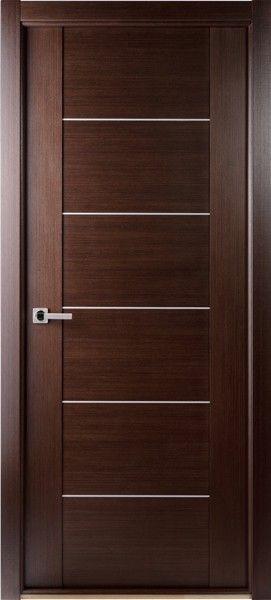 Contemporary African Wenge Interior Single Door With Aluminum Strips Doors Interior Modern Single Door Design Contemporary Interior Doors Latest style aluminum room door