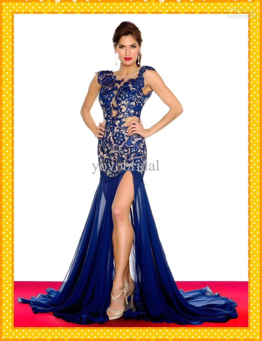 Wholesale Prom Dress - Buy HOT Sexy See Top V Neck Mermaid Royal ...
