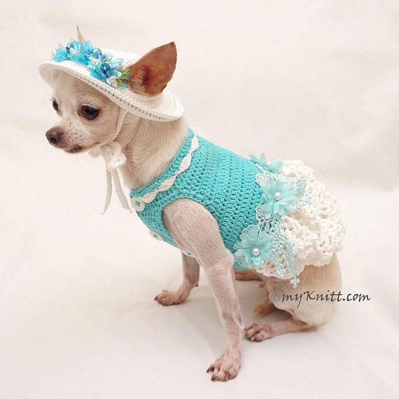 b55879c03 Cute Teal Cotton Dog Clothes. Easter Dog Costume. Dog Bridesmaid Dress with  Crochet Dog