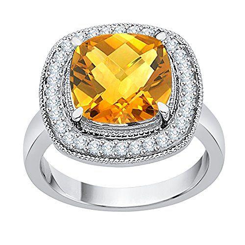 0fc036e24fe9e KATARINA Diamond and Cushion Cut Citrine Engagement Ring in 14K Gold ...