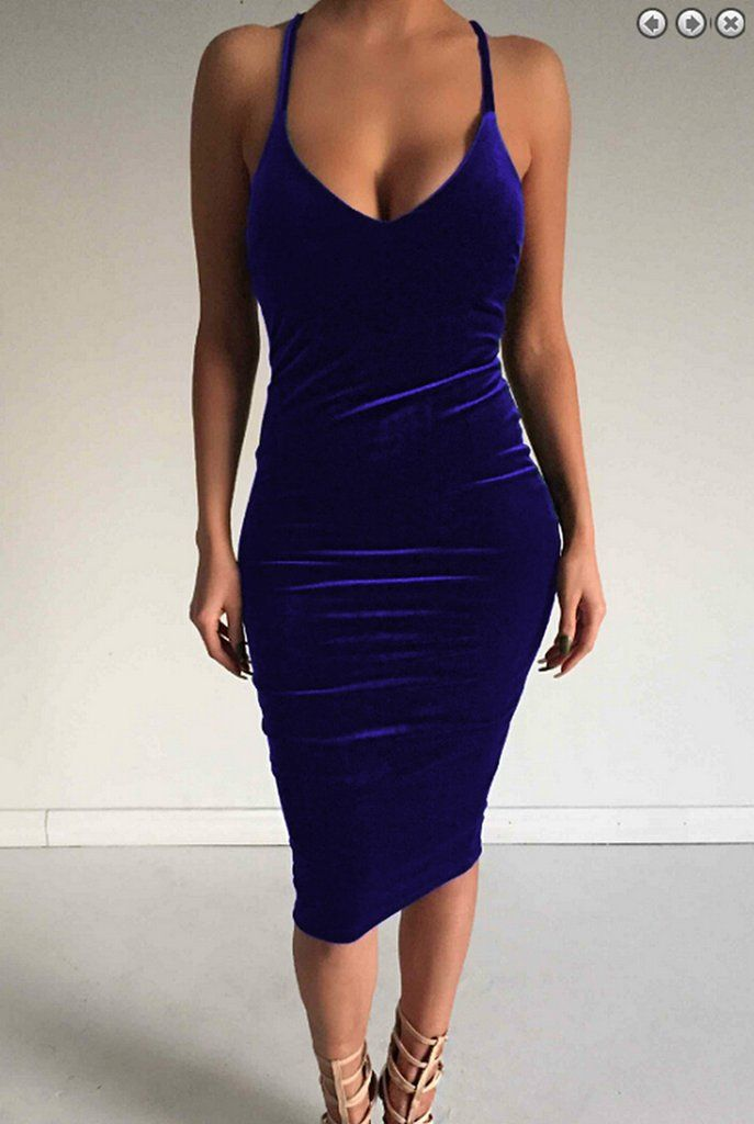 c478f81087ea Deep V-neck Sleeveless Backless Sexy Club Bodycon Skinny Pleuche Dress