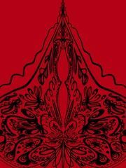 Abstract isolated symmetric black ink pattern on a red background Lace Raster illustration Rapport of a silent pattern for printing on fabric packaging Avatar banner pres...