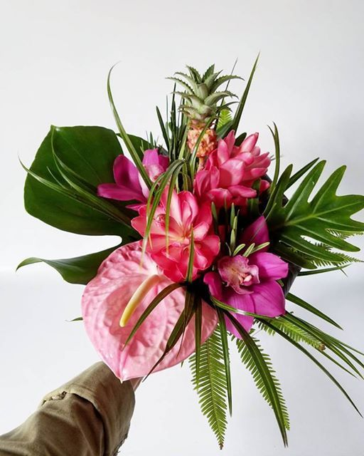Tropical Wedding Inspiration Pink Antherium Orchids Ginger Flower And Mini Pinea With Images Tropical Wedding Bouquets Tropical Flowers Bouquet Tropical Wedding Flowers