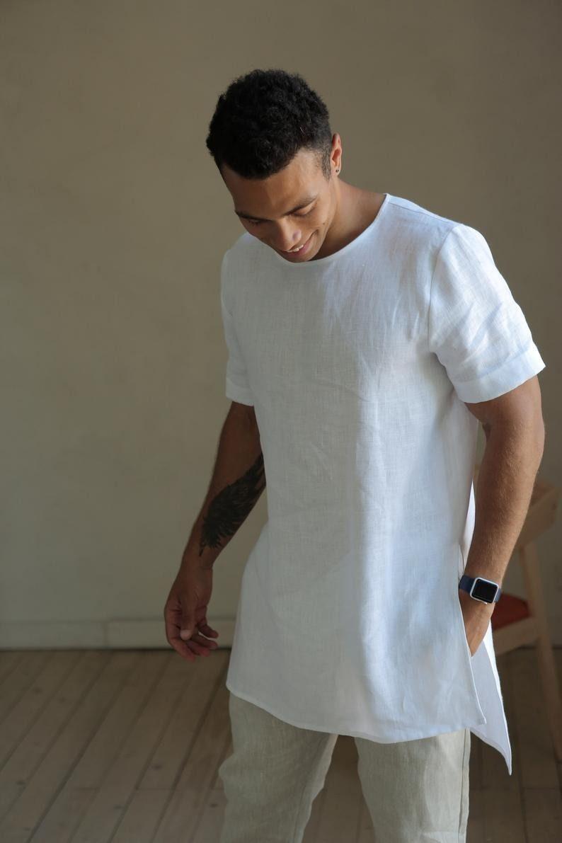 Stunning White Linen T Shirt Linen Tshirts Stylish Tshirts White Tshirt Men