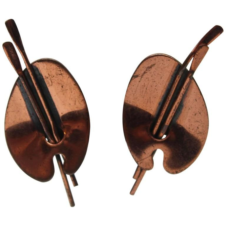 """Mid Century Renoir Copper """"Art Palette"""" Clip Earrings   From a unique collection of vintage clip-on earrings at https://www.1stdibs.com/jewelry/earrings/clip-on-earrings/"""