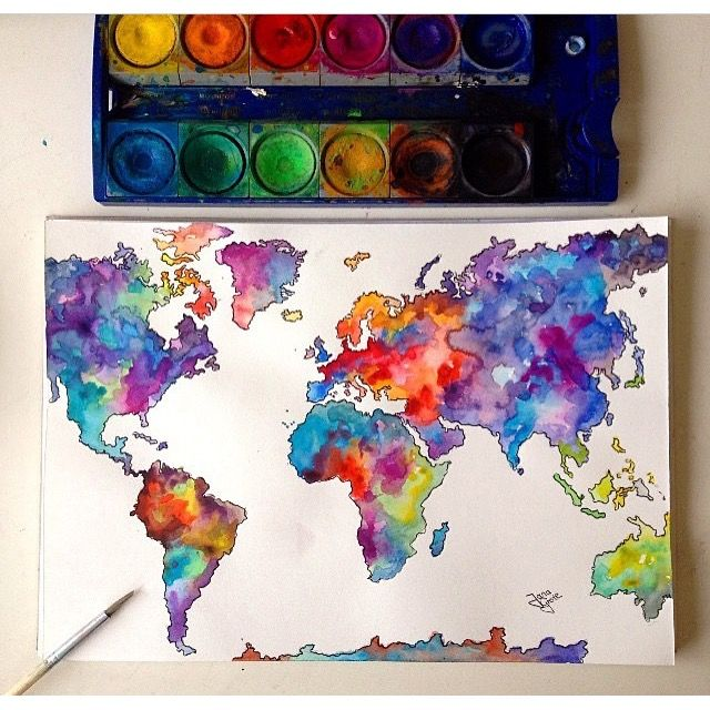 Watercolor Map Art Watercolor Art Drawings