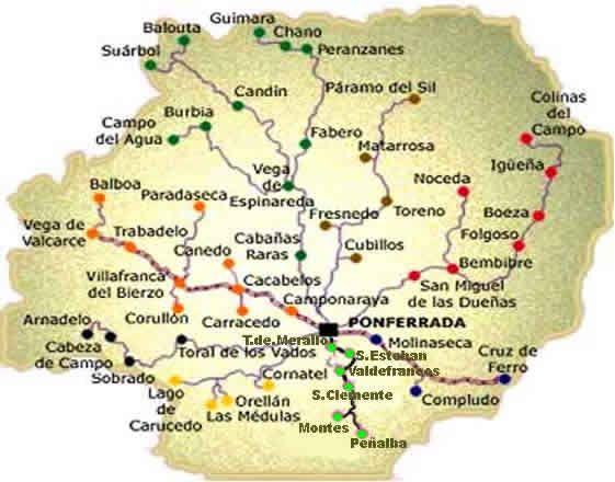 Mapa Del Bierzo Leon.Mapa Del Bierzo Y Rutas Ponferrada Villafranca Del Bierzo Viajes