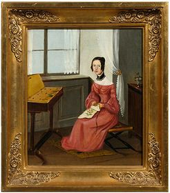Woman With Needlework Seated At Window