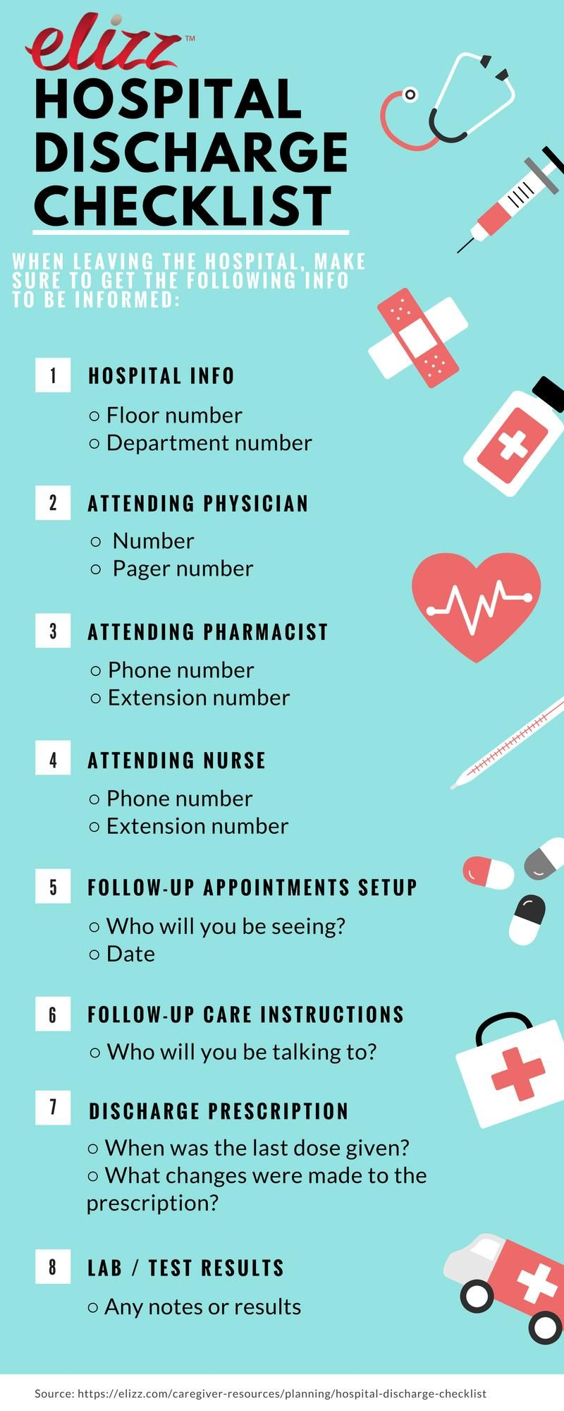 hospital discharge checklist infographic Hospital social