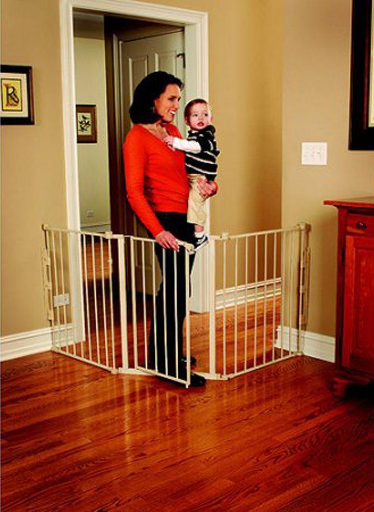 Baby safety gate walk thru door metal pet dog cat fence