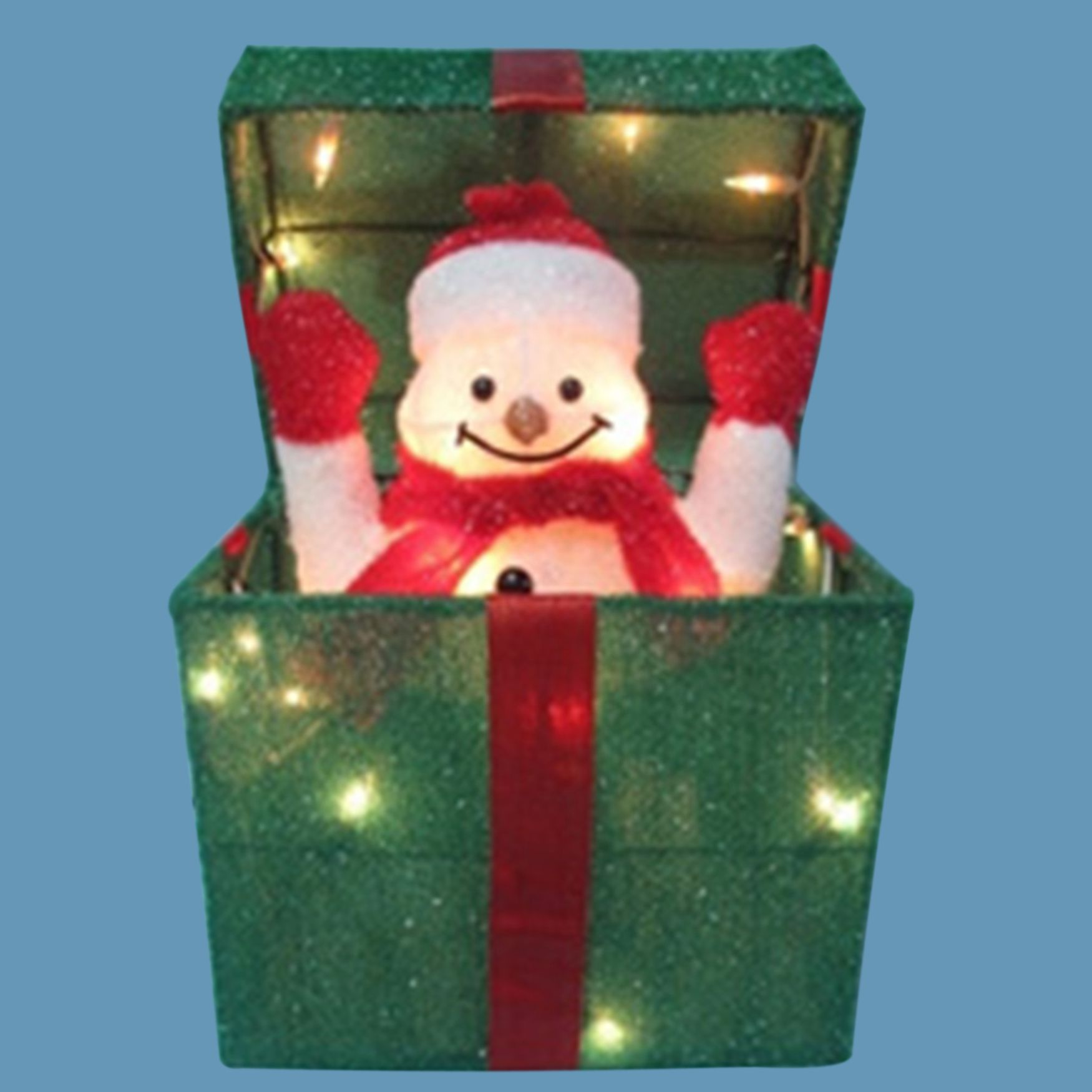 20 h animated gift box with snowman from brylane home for Brylane home christmas decor