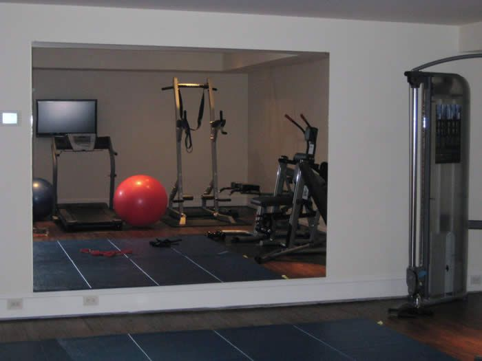 Home gym mirror wall glassless panels are perfect