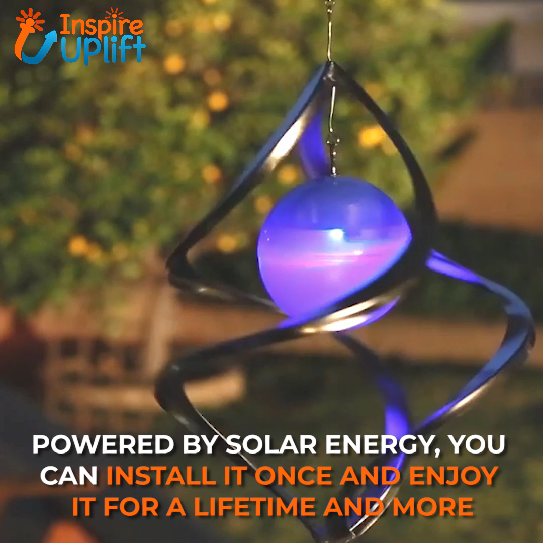 "The Hanging Solar Swirl Wind Spinner will turn your home or backyard into a place from a fairytale. Solar panels charge the batteries during the day, so the sensor can automatically turn on the LED at dusk. Even a slight breeze will make it spin adding beauty to your home, backyard or patio. It includes a metal ""S"" hook and chain for easy hanging, and best of all, there is no wiring needed! Perfect decoration for your home!  Currently 50% OFF with FREE Shipping!"