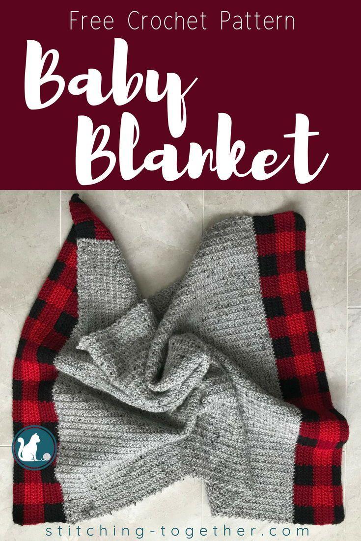 Buffalo Plaid Baby Blanket Free Crochet Pattern Knit Crochet