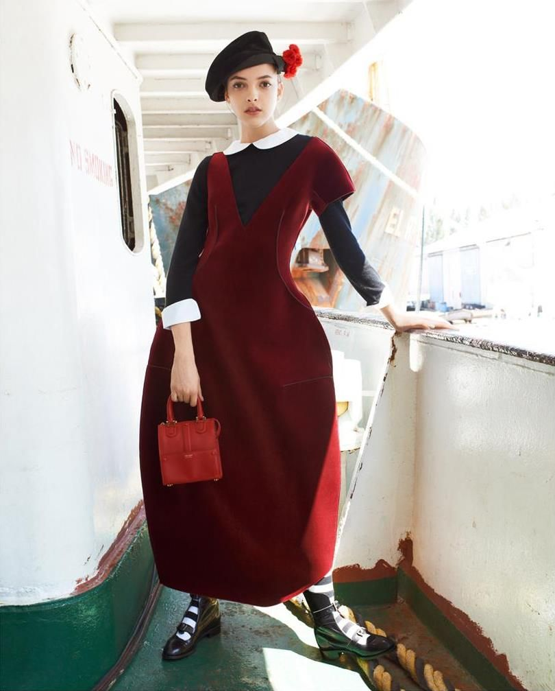Emporio #Armani velvet neoprene dress and Giorgio Armani handbag