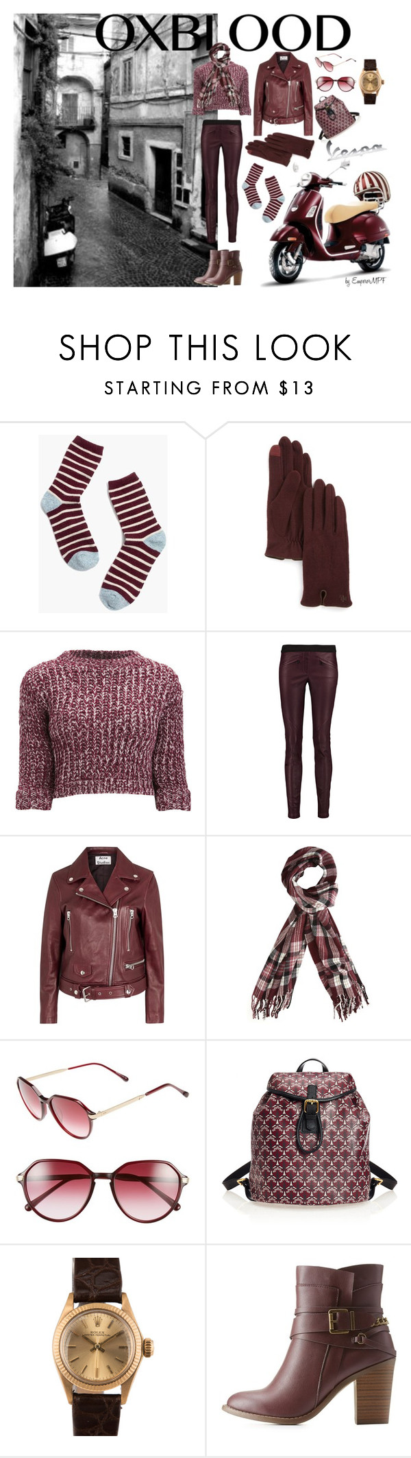 """Oxblood Vespa"" by emperormpf ❤ liked on Polyvore featuring Madewell, Ralph Lauren, Girls On Film, Belstaff, Ateliers Ruby, Acne Studios, Dorothy Perkins, Steven Alan, Liberty and Rolex"