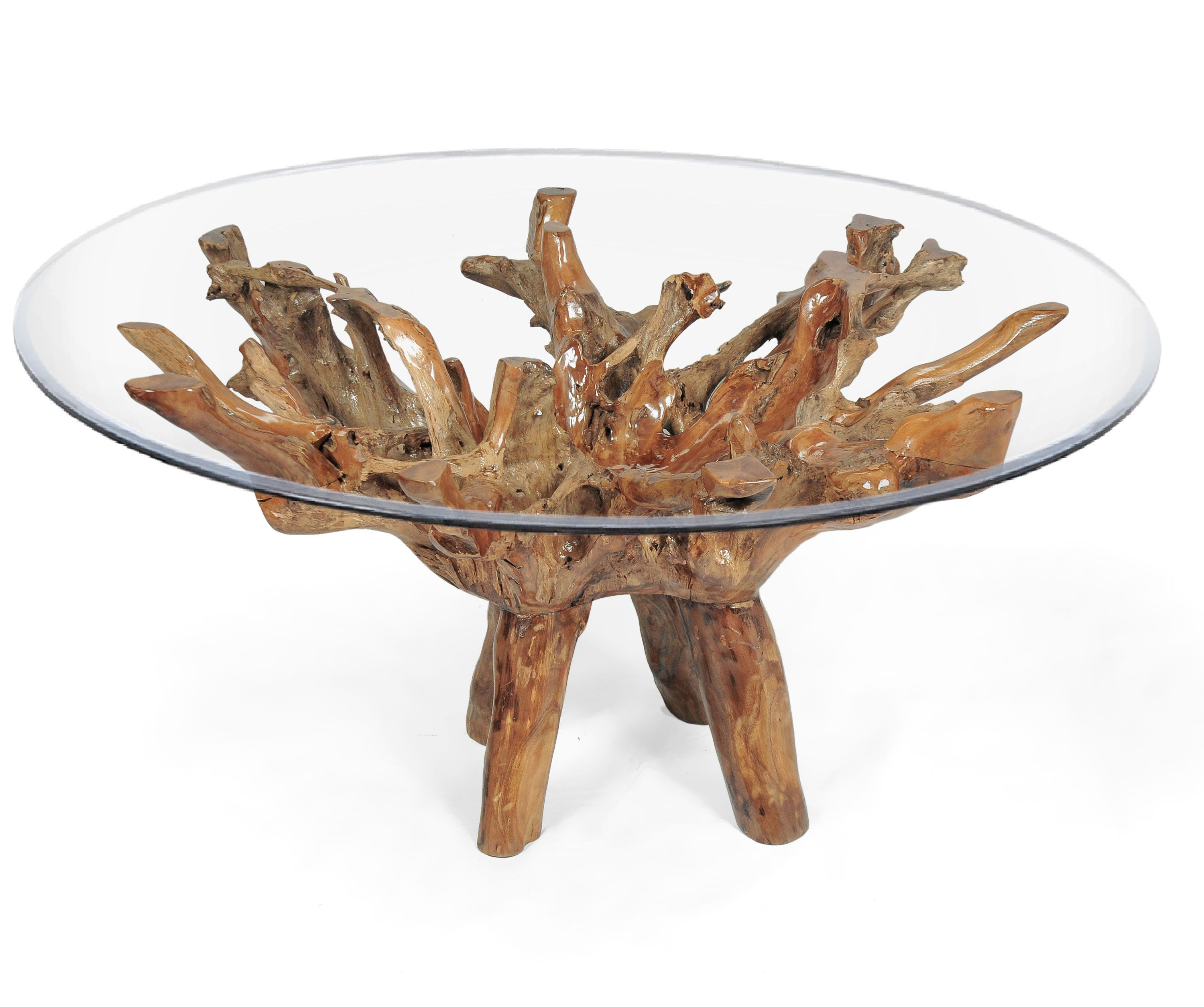 Teak Wood Root Dining Table Including A 63 Inch Round Glass Top Glass Top Coffee Table Teak Wood Dining Table