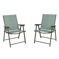 BestChoiceproducts Set Of 2 Folding Chairs Sling Bistro Set Outdoor Patio  Furniture Space Saving