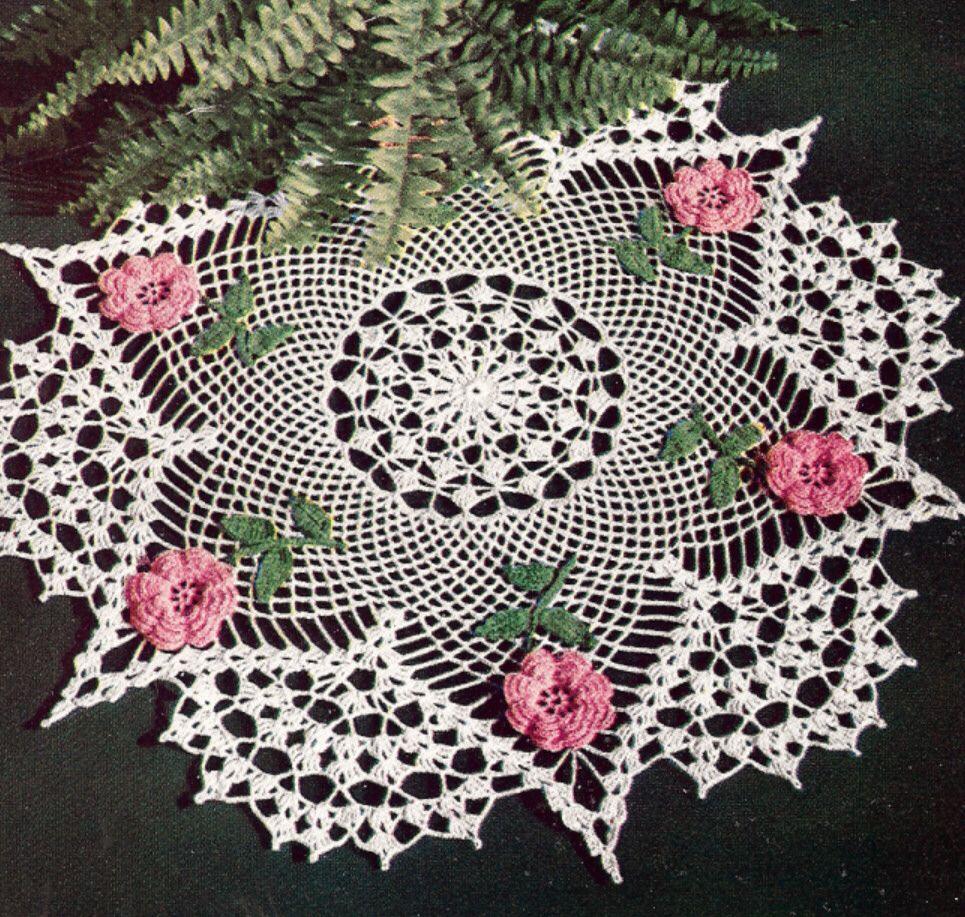 Vintage Crochet PATTERN to make Irish Rose Flower Doily Centerpiece ...