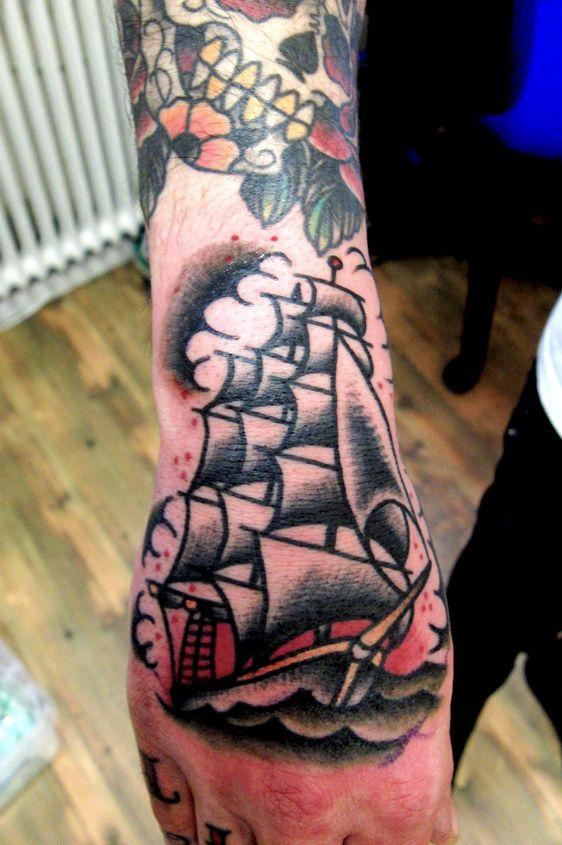 7304a8942 Old school ship hand tattoo by Kalle – Swahili Bob's Tattoo ...