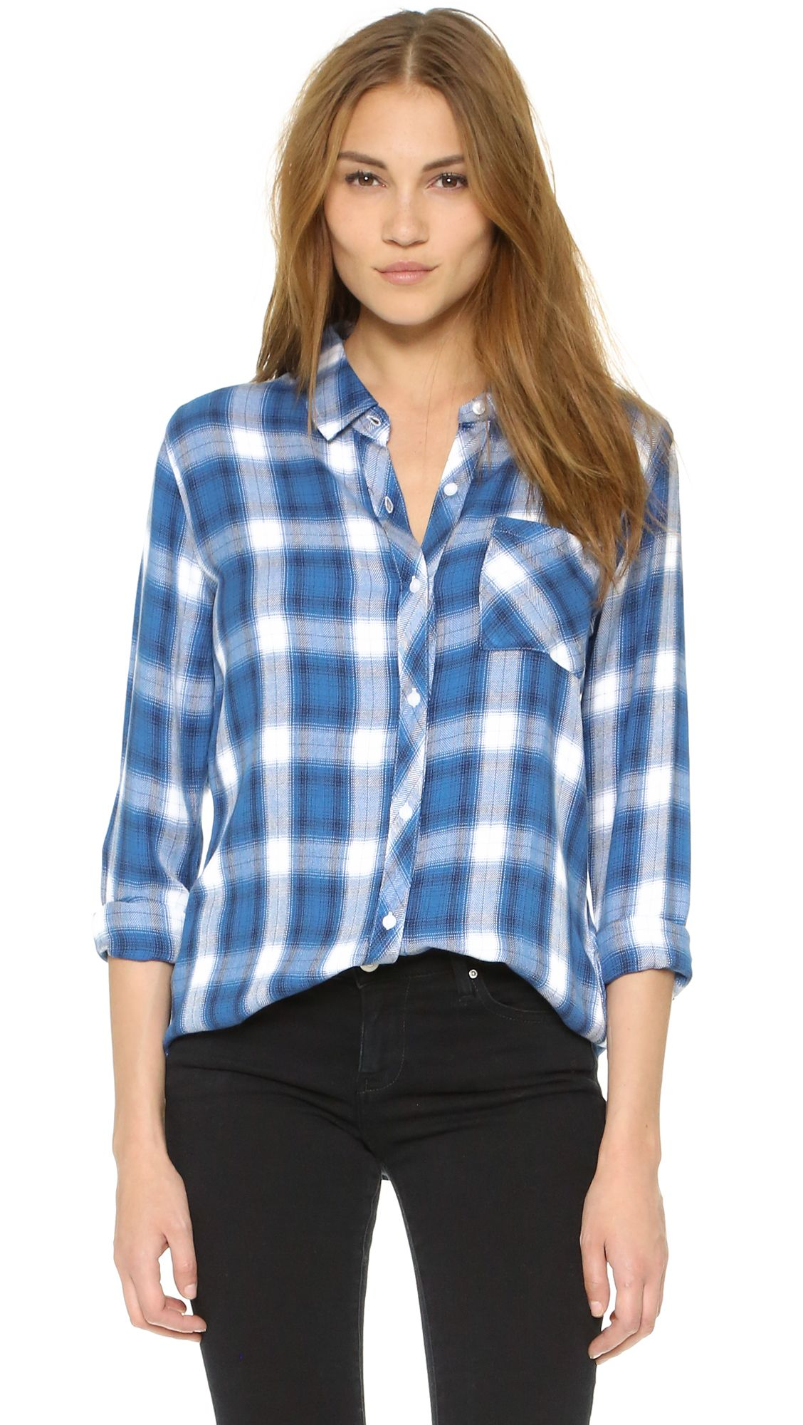 RAILS Hunter Button Down Shirt CAD) ❤ liked on Polyvore featuring tops,  mykonos, plaid button up shirts, long sleeve plaid shirt, blue button up  shirt, ...