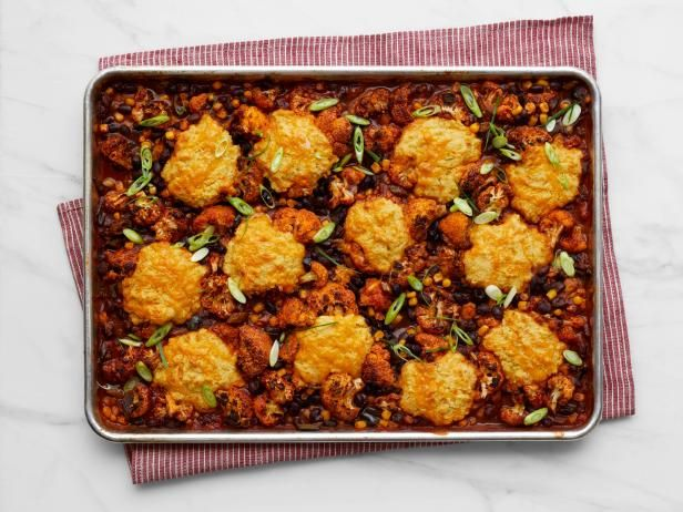 Roasted vegetable chili with cornbread biscuits recipe tray bake get roasted vegetable chili with cornbread biscuits recipe from food network forumfinder Image collections