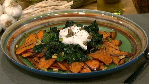 Michael Symon's Grilled Sweet Potatoes with Swiss Chard and Greek Vinaigrette Recipe by Michael Symon - The Chew