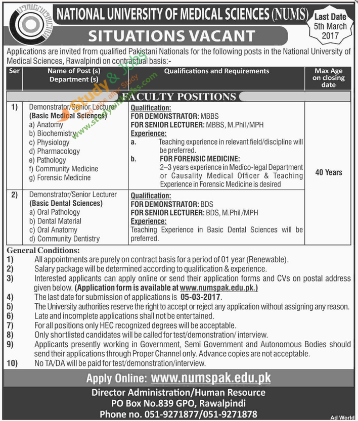 Situations Vacant In National University Of Medical Science  Jobs