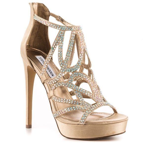 ba8d6a95dc3c Champagne Rhinestone Steve Madden Heels Absolutely stunning rhinestone embellished  champagne satin heels. Unique flourish design