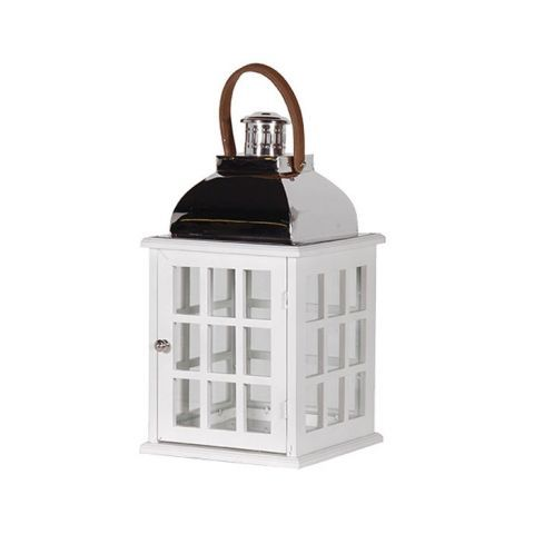 square wooden lantern in white perfect for a hampton s style
