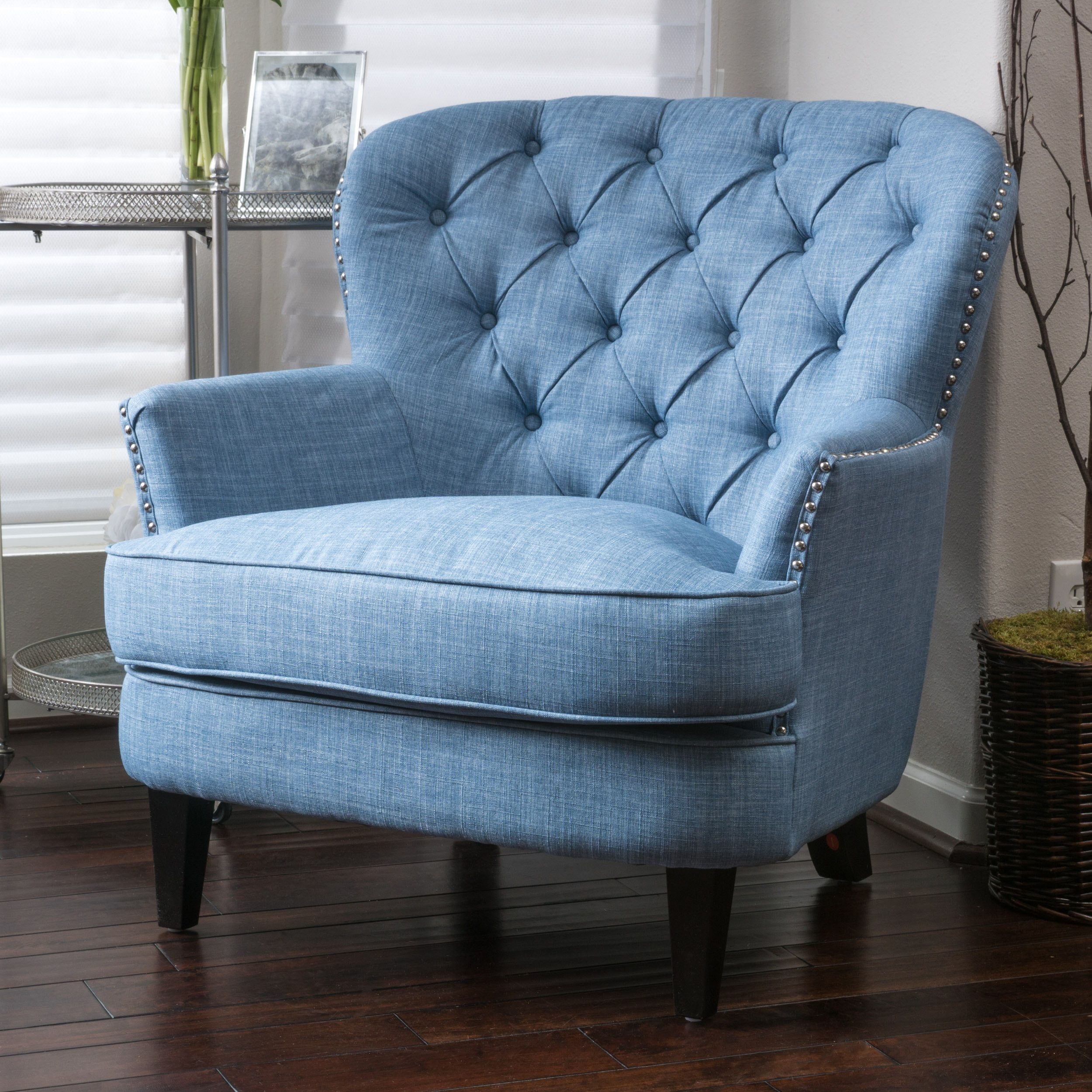 You ll love the Greene Tufted Upholstered Linen Club Chair at