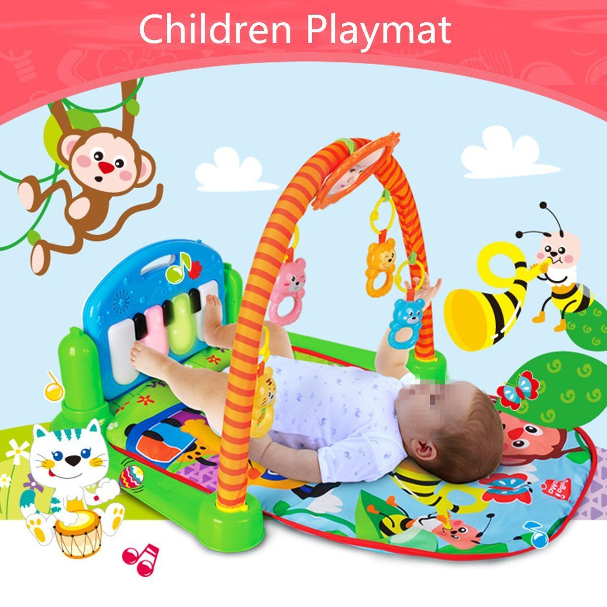 Tappeto Puzzle Baby Smile Rain Forest 3 In 1 Musical Lullaby Activity Playmate Toy