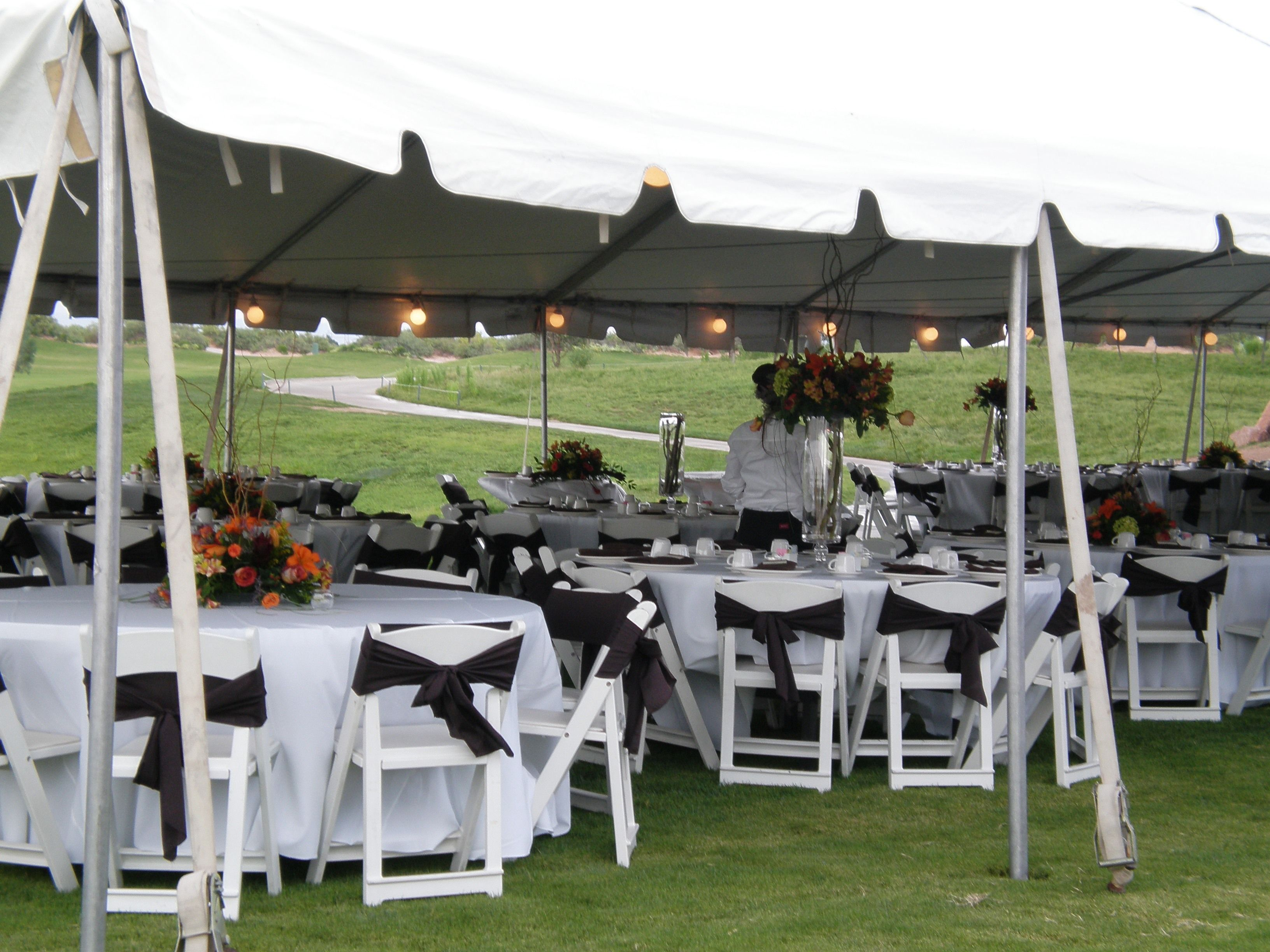 long table setup wedding reception%0A Black and White outdoor wedding setup at Butterfield Trail Golf Club