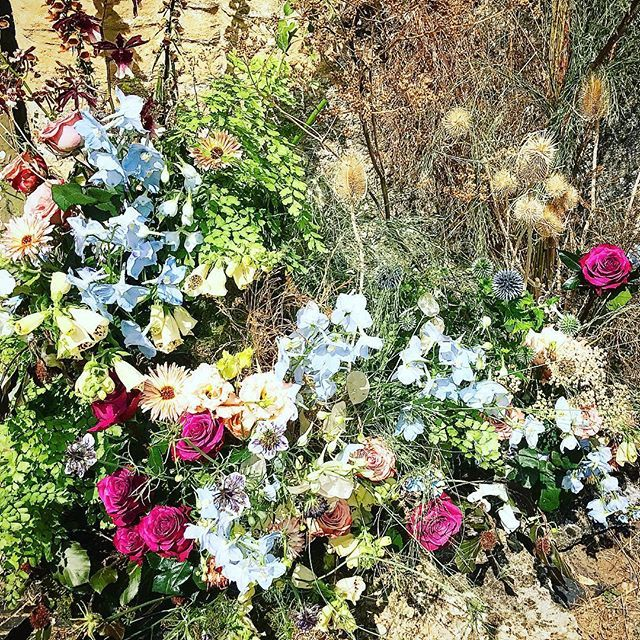 Wedding Wildflowers Greeted Guests Alongside Niche Playing