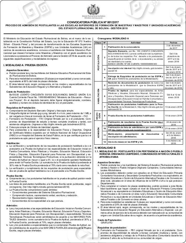 El Ministerio de Educación del Estado Plurinacional de Bolivia, en ...