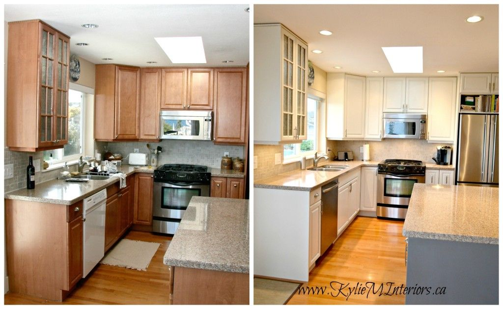 The 3 best white paint colours for cabinets benjamin for Cream kitchen cabinets with white trim