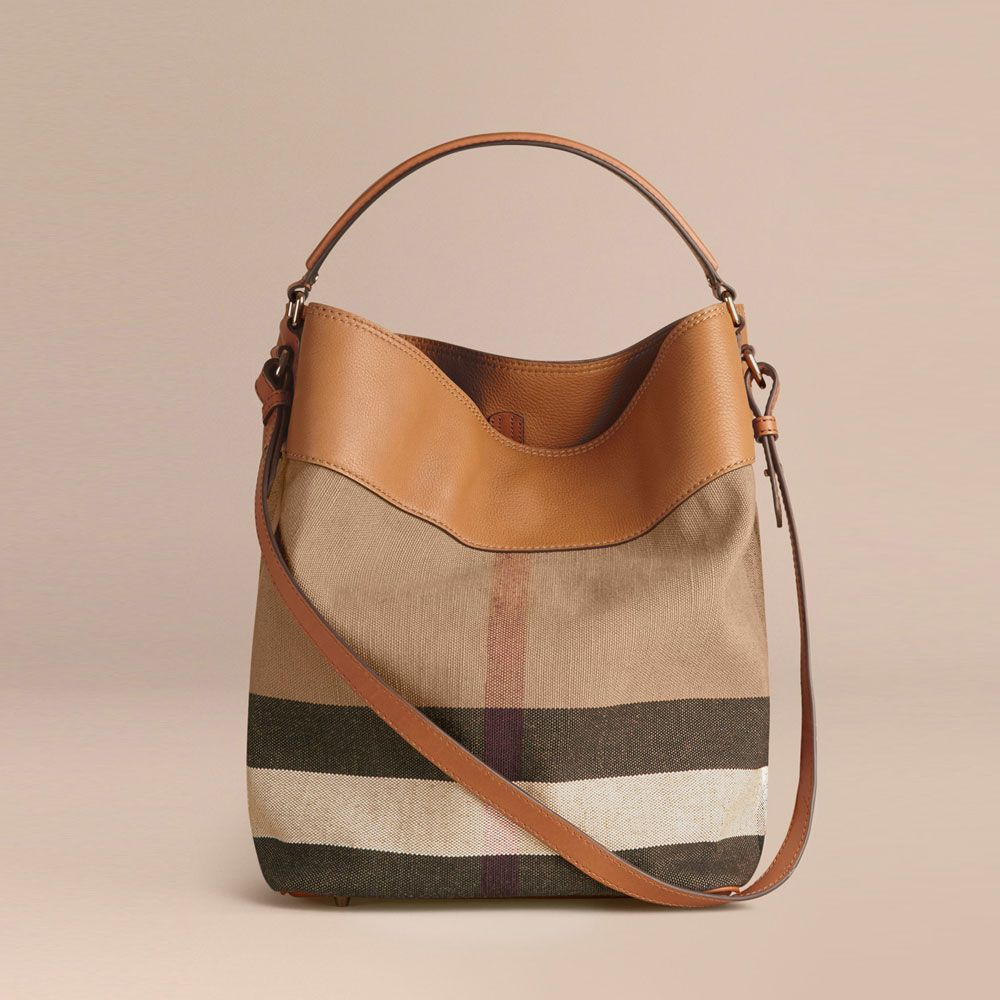 Burberry Medium Ashby in Canvas Check and Leather Saddle Brown 39829371   Image 2 49cbf903b9fca