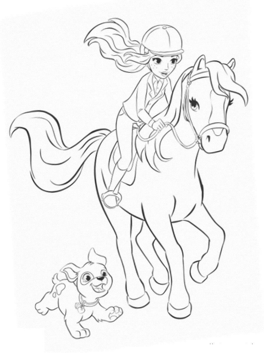 Girl Riding Her Horse With Dog Happily Running Along Detailed Farm Scene Coloring Page With Pasture Fence Horse Drawings Horse Coloring Pages Easy Drawings