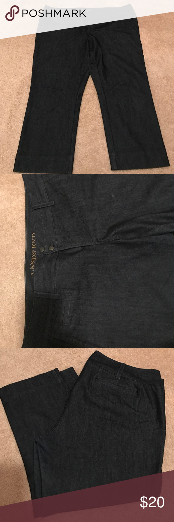 Dressy dark denim capris Lands' End dark denim jean capris. Two button closer with hidden side pockets. Wide leg. Perfect for casual Friday. Pet/smoke free home Lands' End Jeans Ankle & Cropped