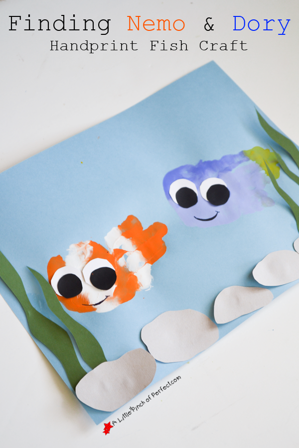 Finding nemo and dory handyprint fish craft clown fish for Fish crafts for preschoolers