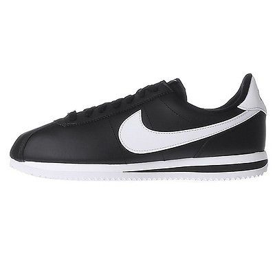 7d9e9c798 Nike Cortez Basic Leather Mens 819719-012 Black Silver Running Shoes Size  11.5