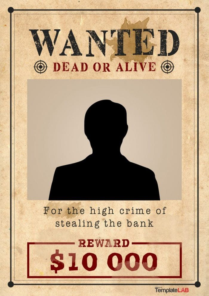 Western Wanted Poster Template 1 - TemplateLab Exclusive - wanted poster template