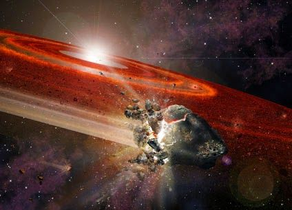 "Artist impression of the debris disk around HD 107146. This adolescent star system shows signs that in its outer reaches, swarms of Pluto-size objects are jostling nearby smaller objects, causing them to collide and ""kick up"" considerable dust."