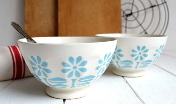 2 Classic French Vintage Faceted Blue White Floral Porcelain